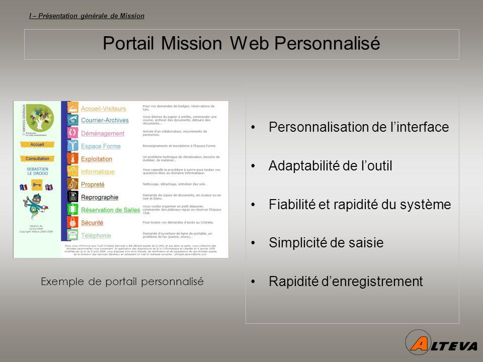 I – Présentation générale de Mission Portail Mission Web Personnalisé Personnalisation de linterface Adaptabilité de loutil Fiabilité et rapidité du système Simplicité de saisie Rapidité denregistrement Exemple de portail personnalisé