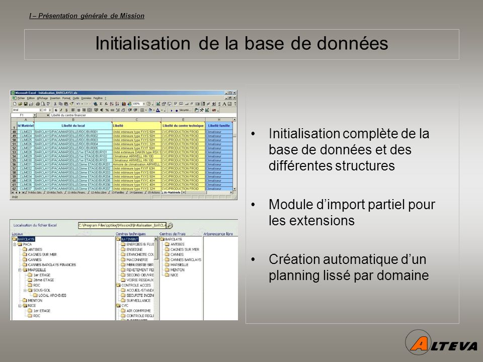 I – Présentation générale de Mission Initialisation de la base de données Initialisation complète de la base de données et des différentes structures Module dimport partiel pour les extensions Création automatique dun planning lissé par domaine