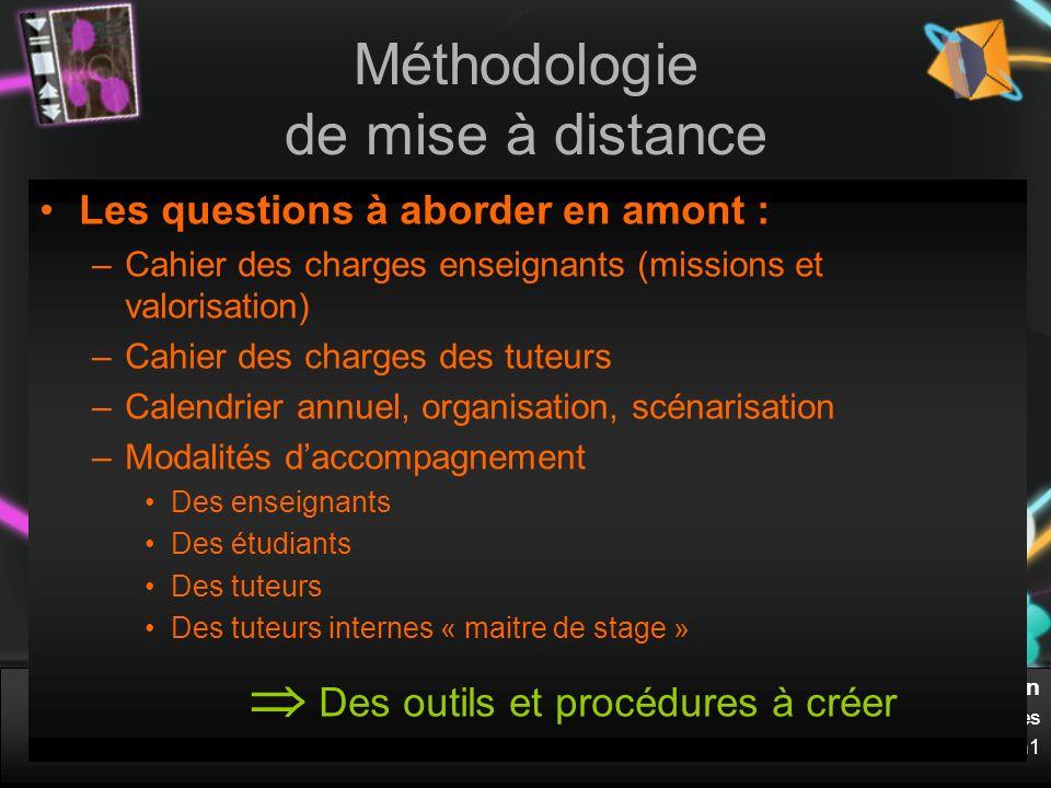 Anne Commerçon UFR STAPS – Dpmt Management des Organisations Sportives Université Claude Bernard Lyon1 Méthodologie de mise à distance Les questions à