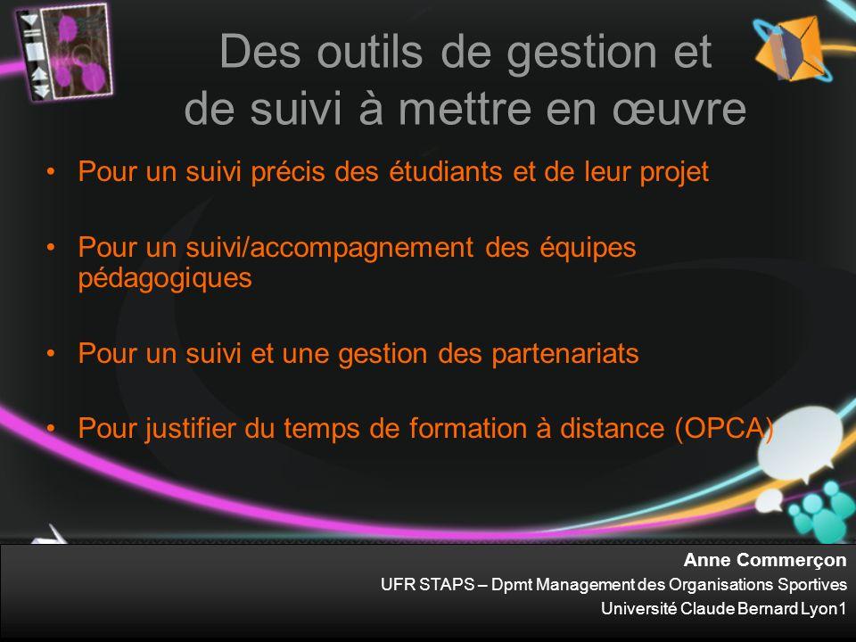 Anne Commerçon UFR STAPS – Dpmt Management des Organisations Sportives Université Claude Bernard Lyon1 Des outils de gestion et de suivi à mettre en œ