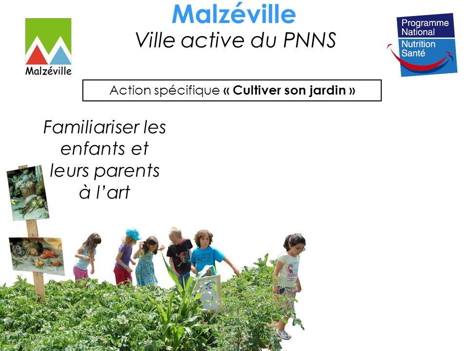 Malzéville Ville active du PNNS Action spécifique « Cultiver son jardin » Familiariser les enfants et leurs parents à lart Partenaire : Musée des Beaux-Arts