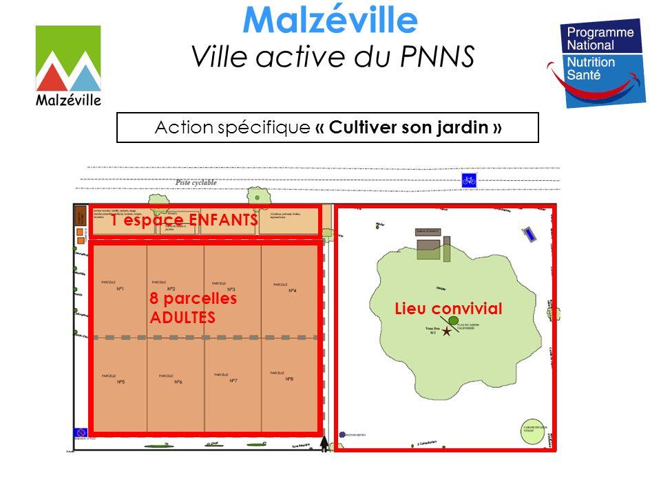 Malzéville Ville active du PNNS Action spécifique « Cultiver son jardin » Lieu convivial 8 parcelles ADULTES 1 espace ENFANTS