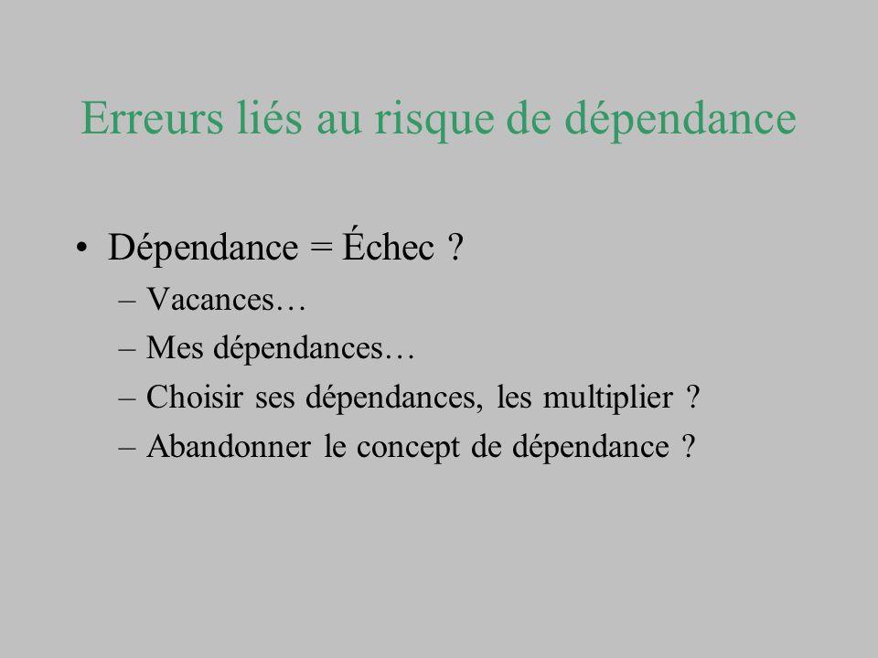 Erreurs liés au risque de dépendance Dépendance = Échec ? –Vacances… –Mes dépendances… –Choisir ses dépendances, les multiplier ? –Abandonner le conce