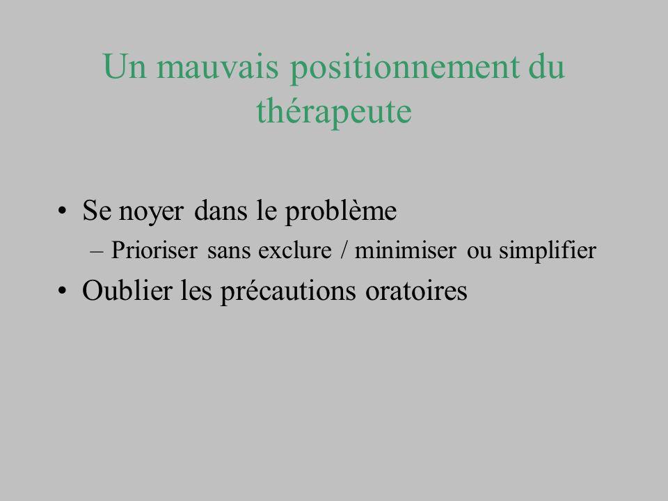 Un mauvais positionnement du thérapeute Se noyer dans le problème –Prioriser sans exclure / minimiser ou simplifier Oublier les précautions oratoires