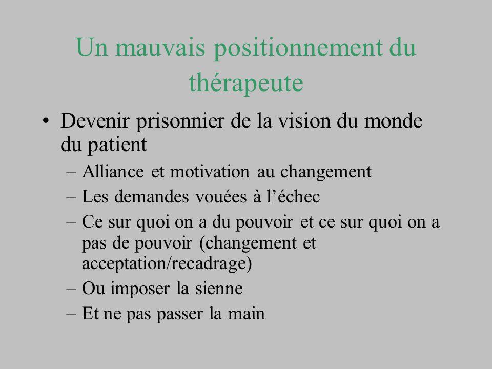 Un mauvais positionnement du thérapeute Devenir prisonnier de la vision du monde du patient –Alliance et motivation au changement –Les demandes vouées