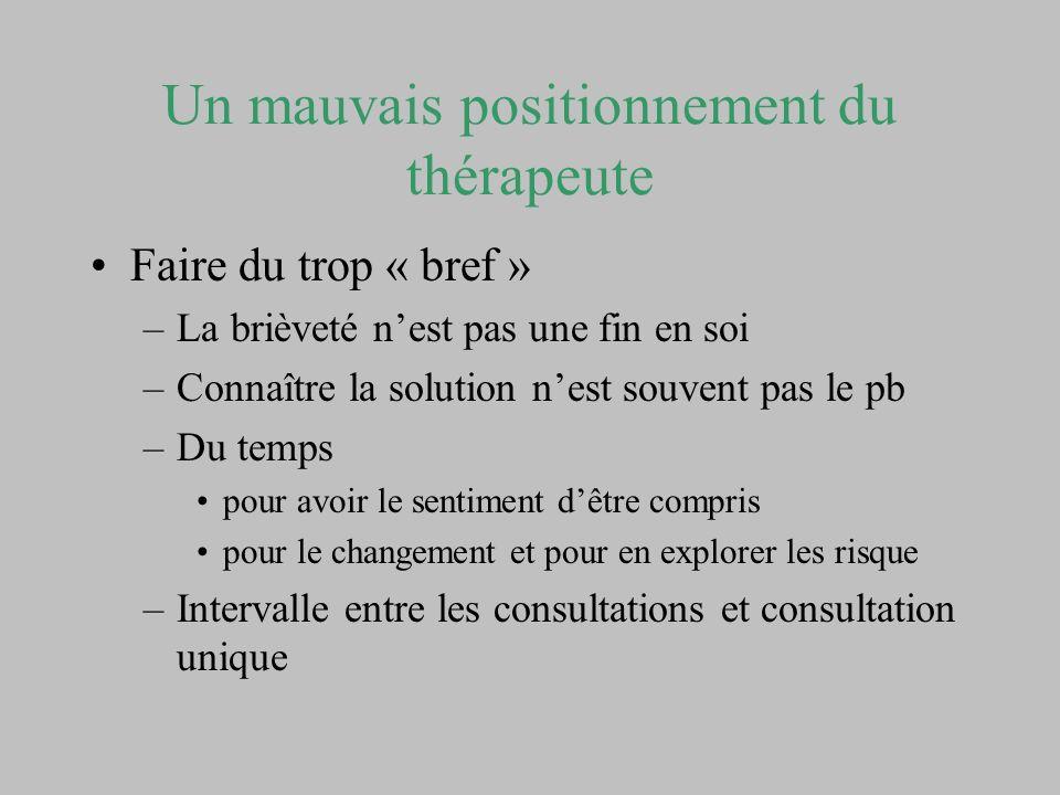 Un mauvais positionnement du thérapeute Faire du trop « bref » –La brièveté nest pas une fin en soi –Connaître la solution nest souvent pas le pb –Du