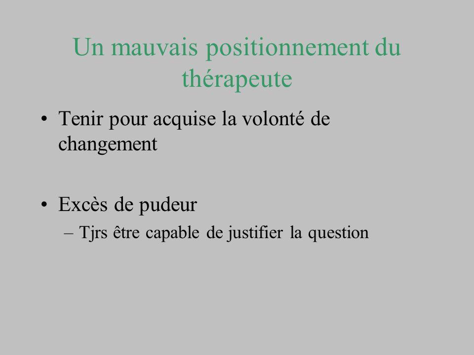 Un mauvais positionnement du thérapeute Tenir pour acquise la volonté de changement Excès de pudeur –Tjrs être capable de justifier la question