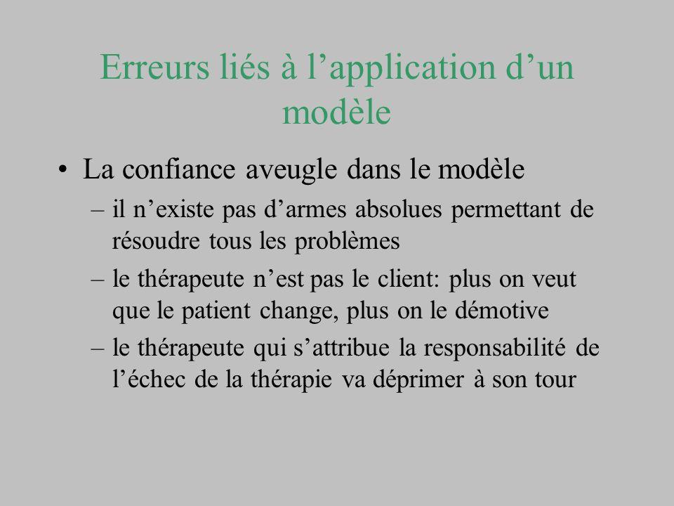 Erreurs liés à lapplication dun modèle La confiance aveugle dans le protocole –Toute théorie est réductrice de la réalité –Les protocoles font entrer les patients dans des catégories répertoriés –Les notions de contexte et dinteraction sont à prendre en compte