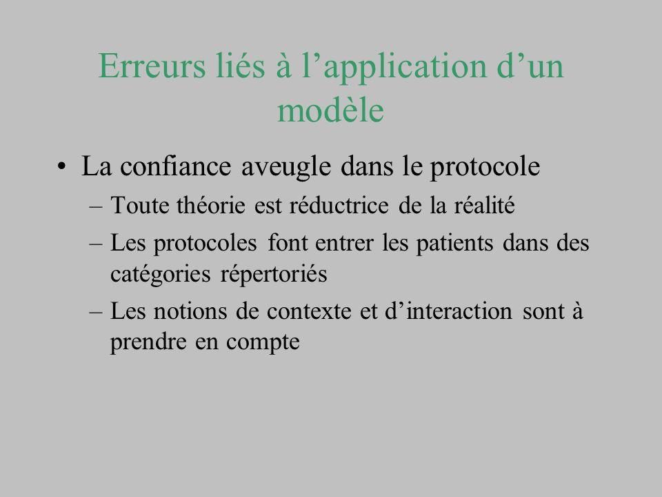 Erreurs liés à lapplication dun modèle La confiance aveugle dans le protocole –Toute théorie est réductrice de la réalité –Les protocoles font entrer
