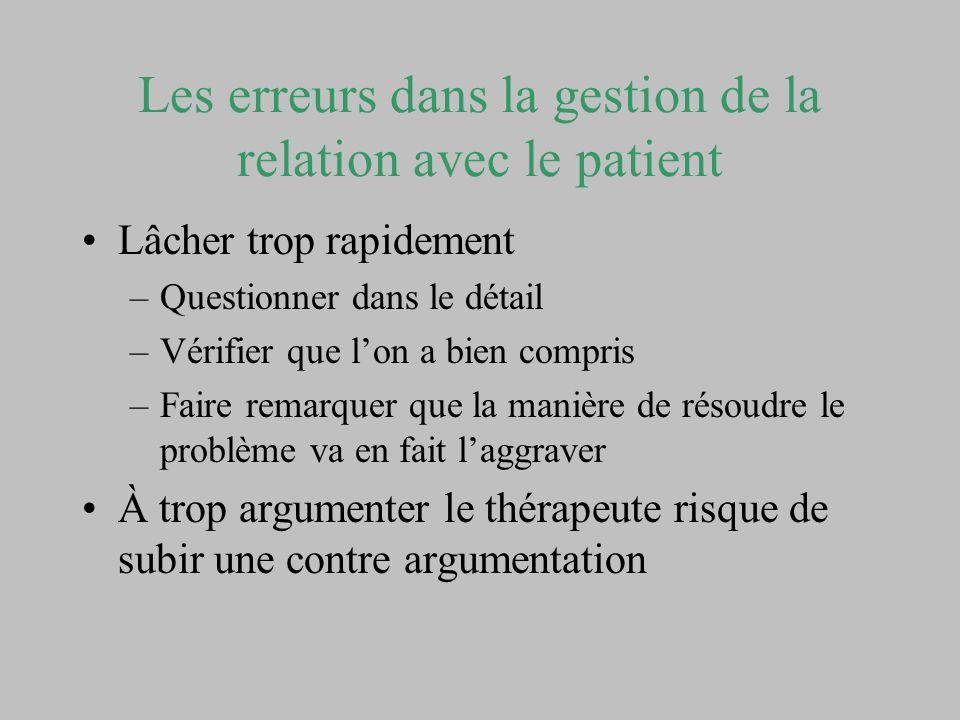 Les erreurs dans la gestion de la relation avec le patient Lâcher trop rapidement –Questionner dans le détail –Vérifier que lon a bien compris –Faire