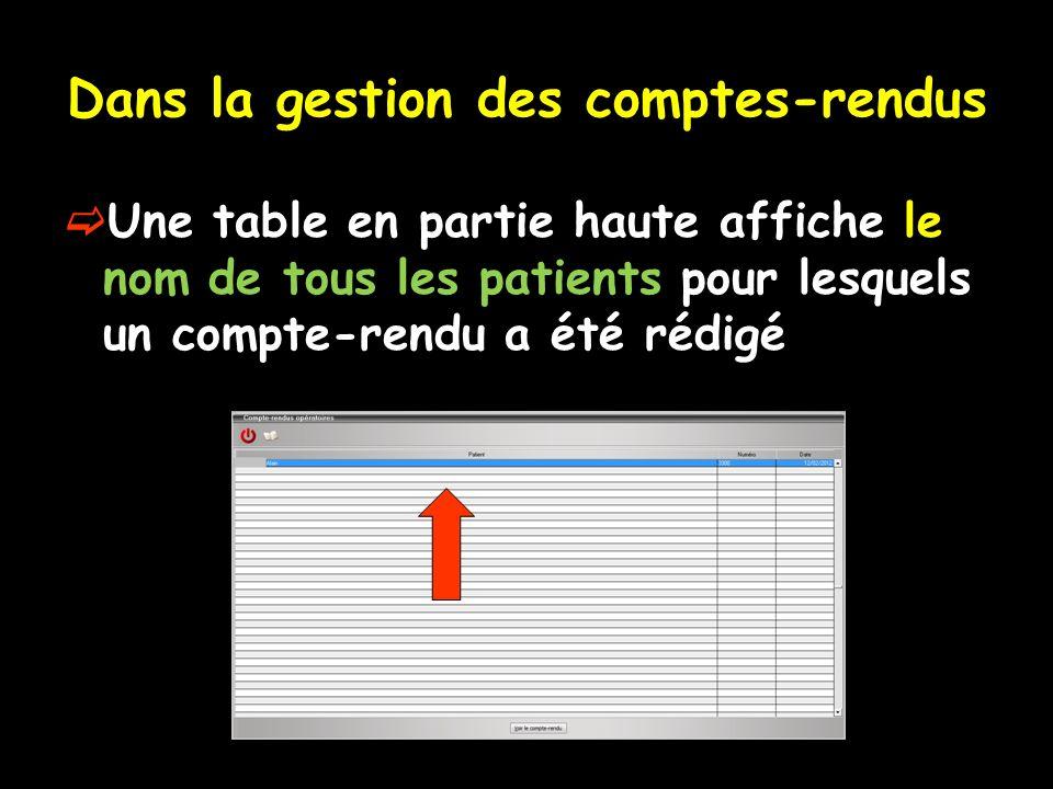 Dans la gestion des comptes-rendus Une table en partie haute affiche le nom de tous les patients pour lesquels un compte-rendu a été rédigé