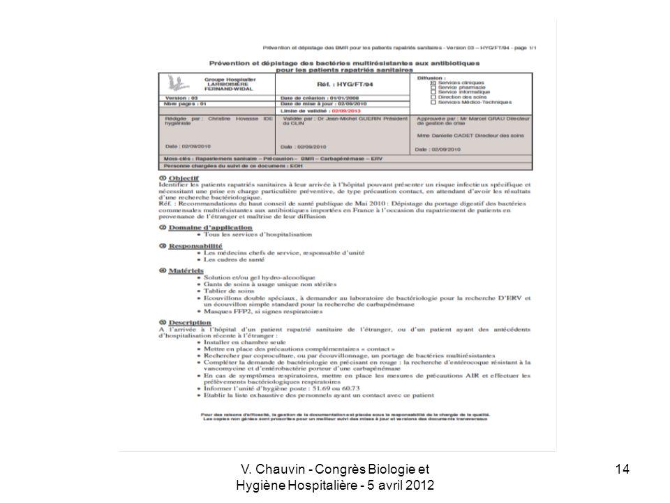 V. Chauvin - Congrès Biologie et Hygiène Hospitalière - 5 avril 2012 14