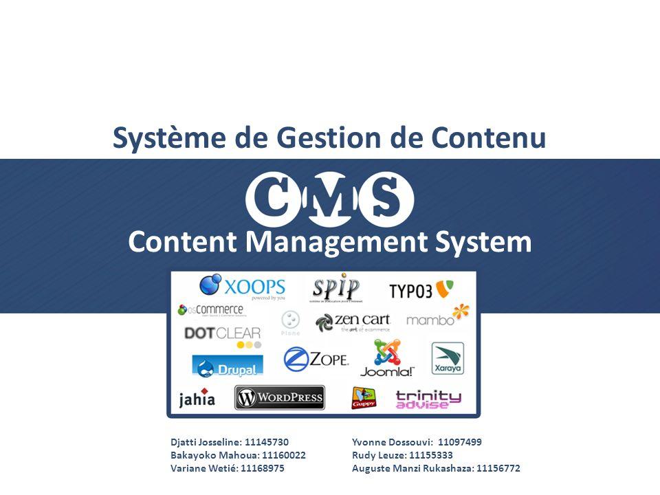 Content Management System Système de Gestion de Contenu Djatti Josseline: 11145730 Bakayoko Mahoua: 11160022 Variane Wetié: 11168975 Yvonne Dossouvi: