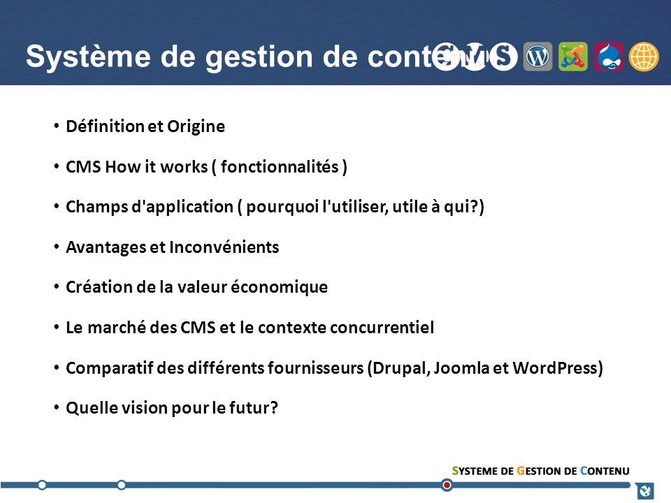 Système de gestion de contenu Définition et Origine CMS How it works ( fonctionnalités ) Champs d'application ( pourquoi l'utiliser, utile à qui?) Ava