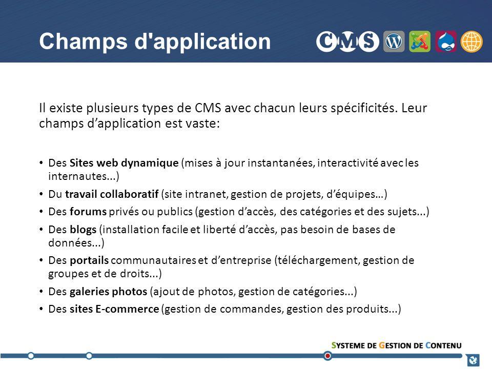 Champs d'application Il existe plusieurs types de CMS avec chacun leurs spécificités. Leur champs dapplication est vaste: Des Sites web dynamique (mis