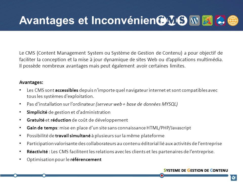 Inconvénients: Le principal inconvénient reste la lenteur daccès aux bases de données qui est visible surtout à laffichage des pages (selon lhébergeur).