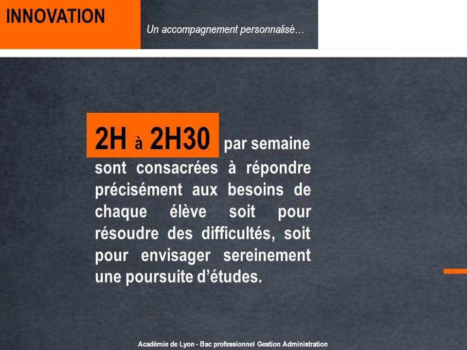 Académie de Lyon - Bac professionnel Gestion Administration Un accompagnement personnalisé… 2H à 2H30 par semaine sont consacrées à répondre préciséme