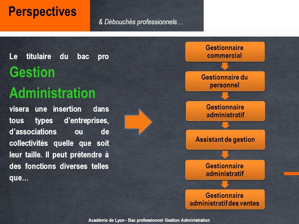 Académie de Lyon - Bac professionnel Gestion Administration Le titulaire du bac pro Gestion Administration visera une insertion dans tous types dentre