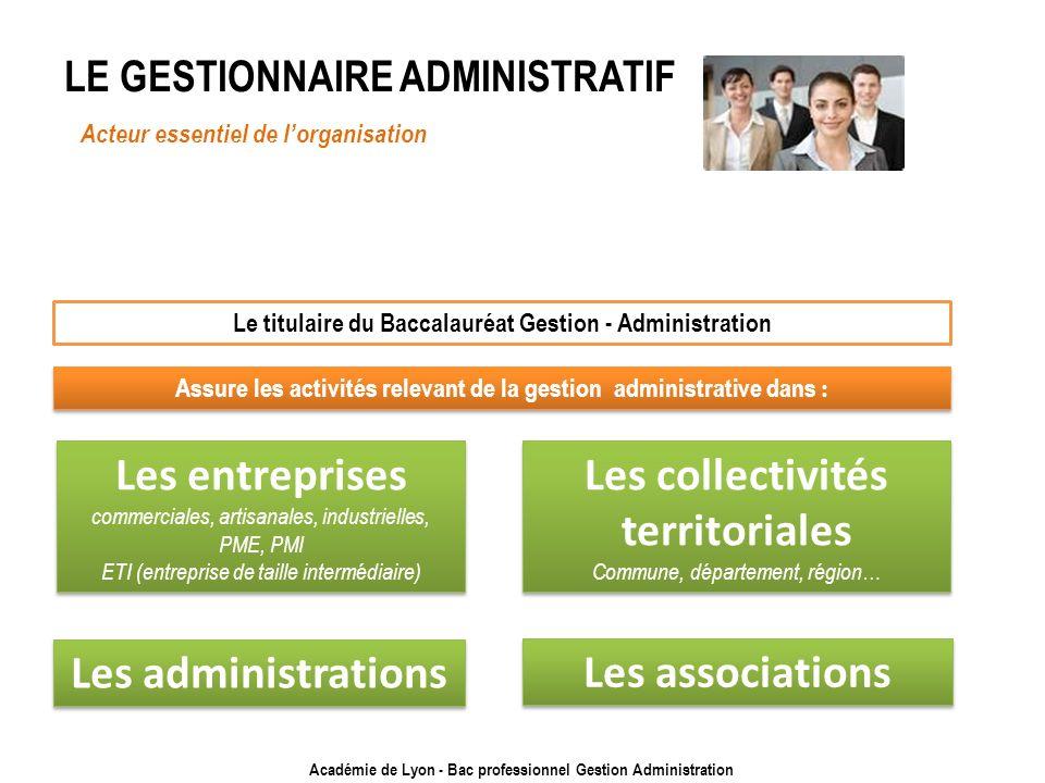Académie de Lyon - Bac professionnel Gestion Administration LE GESTIONNAIRE ADMINISTRATIF Acteur essentiel de lorganisation Le titulaire du Baccalauré