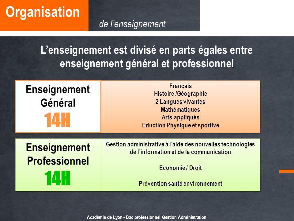 Académie de Lyon - Bac professionnel Gestion Administration Lenseignement est divisé en parts égales entre enseignement général et professionnel Ensei