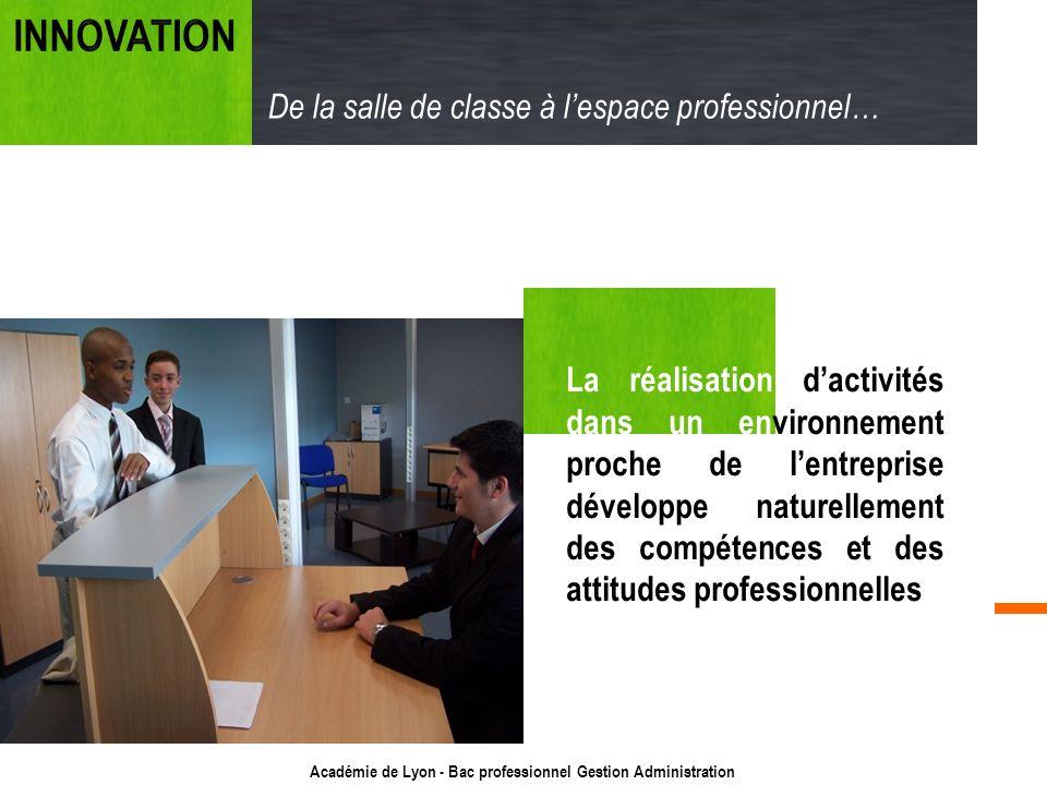 Académie de Lyon - Bac professionnel Gestion Administration La réalisation dactivités dans un environnement proche de lentreprise développe naturellem