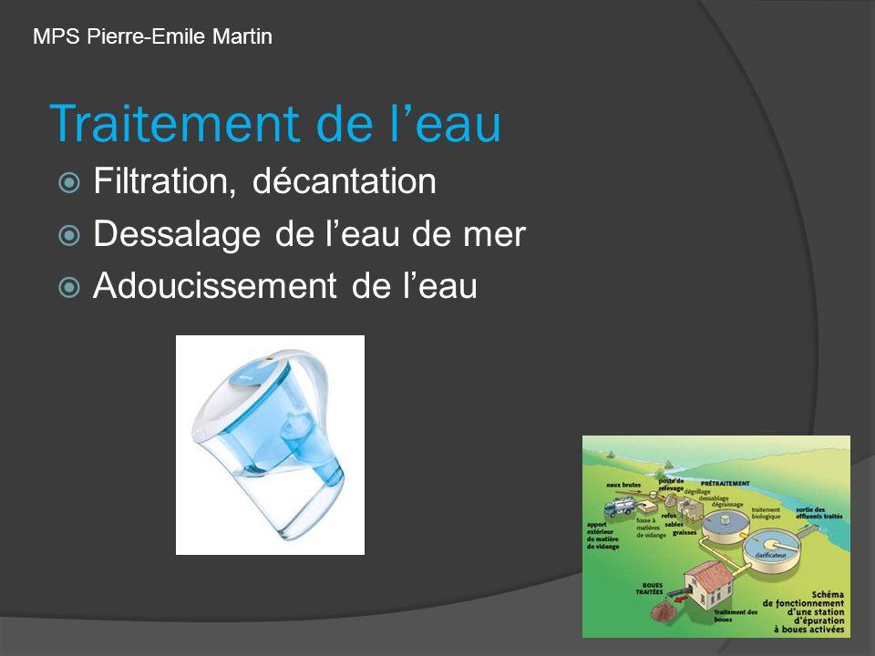 Traitement de leau Filtration, décantation Dessalage de leau de mer Adoucissement de leau MPS Pierre-Emile Martin