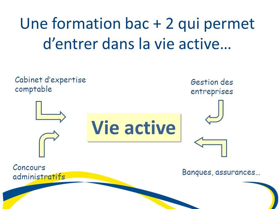 Vie active Vie active Une formation bac + 2 qui permet dentrer dans la vie active… Cabinet dexpertise comptable Gestion des entreprises Banques, assur