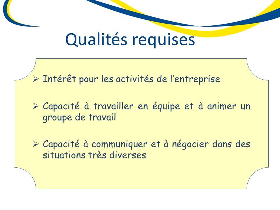 Intérêt pour les activités de lentreprise Intérêt pour les activités de lentreprise Capacité à travailler en équipe et à animer un groupe de travail C