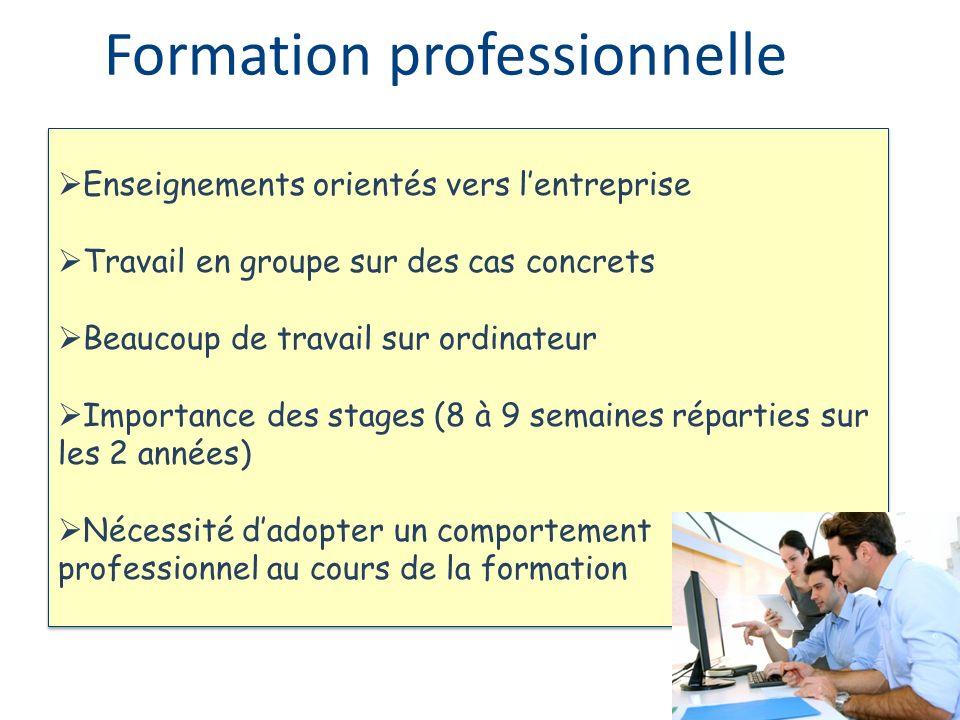 Enseignements orientés vers lentreprise Travail en groupe sur des cas concrets Beaucoup de travail sur ordinateur Importance des stages (8 à 9 semaine