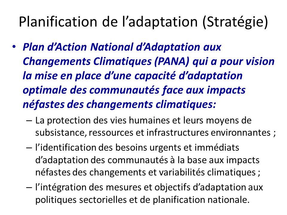 Plan dAction National dAdaptation aux Changements Climatiques (PANA) qui a pour vision la mise en place dune capacité dadaptation optimale des communa