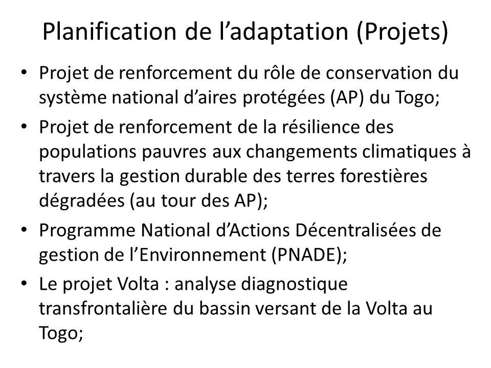 Projet de lutte contre lérosion côtière; Projet de gestion intégrée des terres et des catastrophes (PGICT) Project de recherches et de renforcement des capacités: PARCC, RIPIECSA, WASCAL, etc.