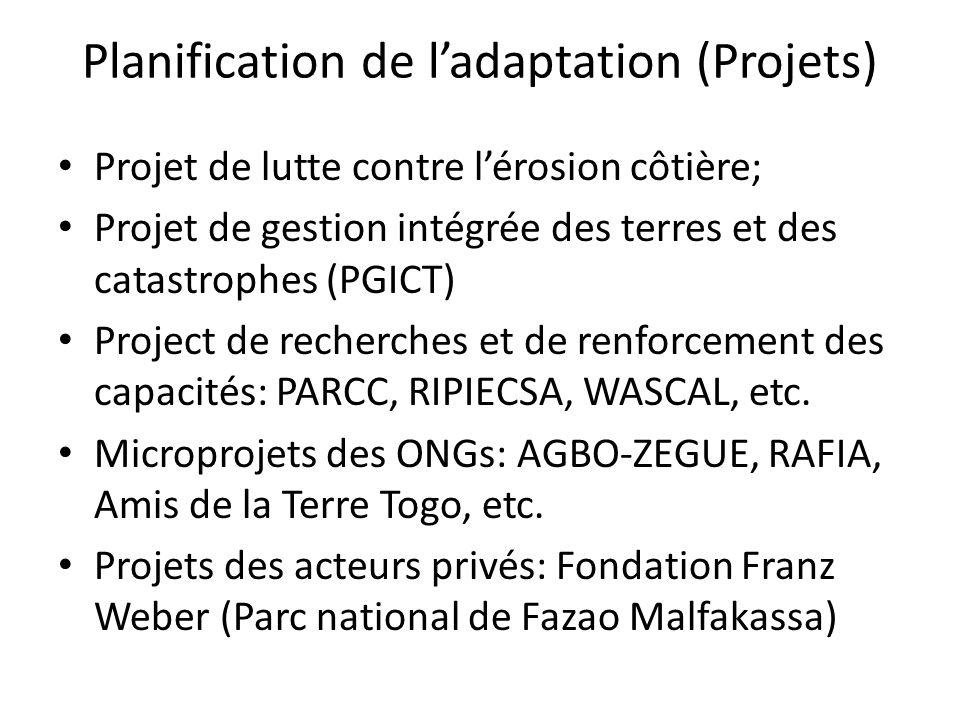 Projet de lutte contre lérosion côtière; Projet de gestion intégrée des terres et des catastrophes (PGICT) Project de recherches et de renforcement de