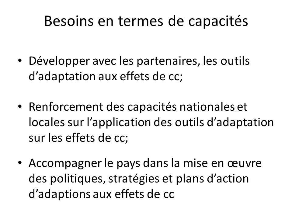 Besoins en termes de capacités Développer avec les partenaires, les outils dadaptation aux effets de cc; Renforcement des capacités nationales et loca