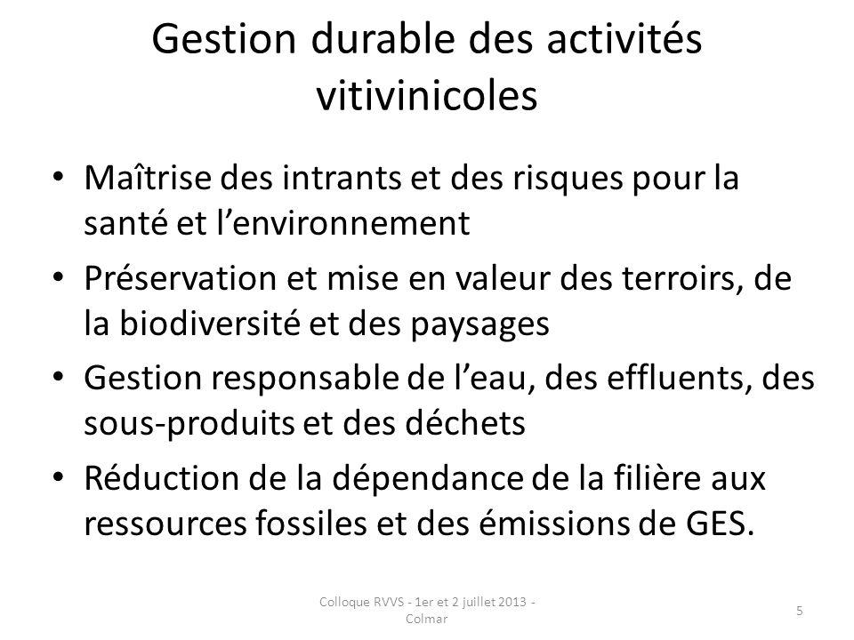 Gestion durable des activités vitivinicoles Maîtrise des intrants et des risques pour la santé et lenvironnement Préservation et mise en valeur des te