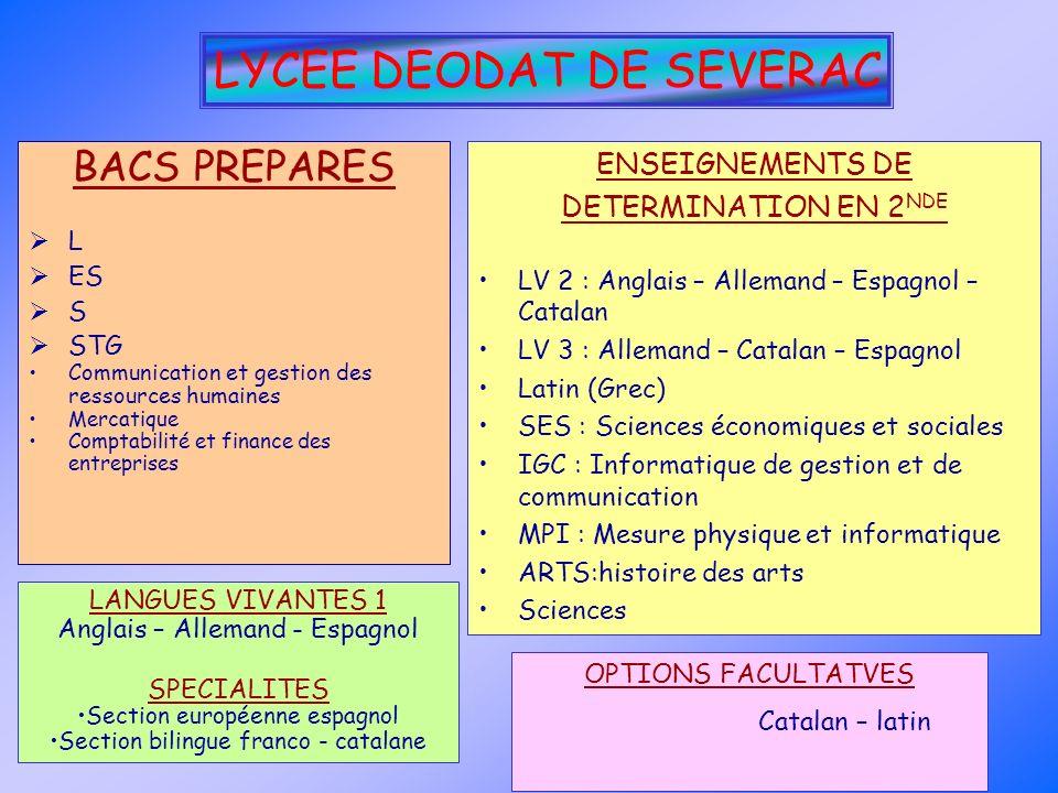 LYCEE DEODAT DE SEVERAC BACS PREPARES L ES S STG Communication et gestion des ressources humaines Mercatique Comptabilité et finance des entreprises E