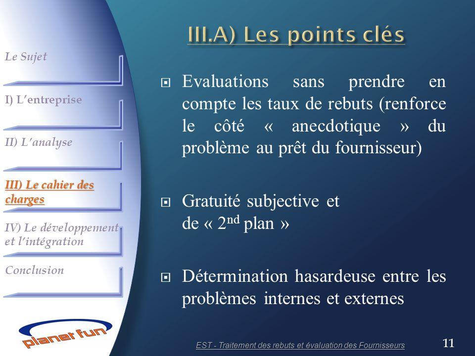 11 Evaluations sans prendre en compte les taux de rebuts (renforce le côté « anecdotique » du problème au prêt du fournisseur) Gratuité subjective et
