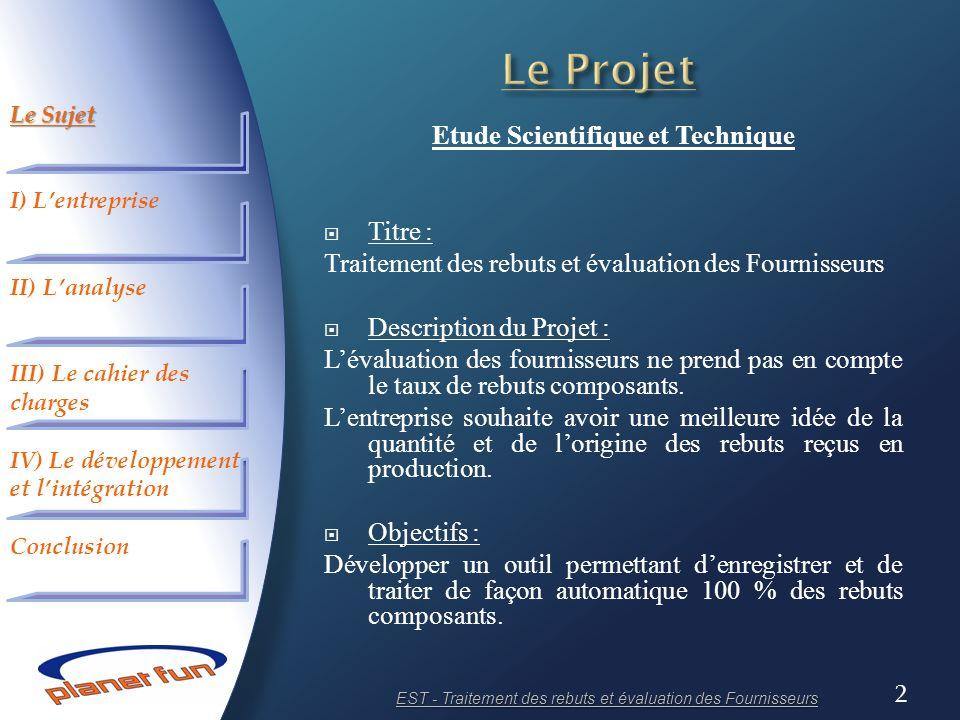 2 Etude Scientifique et Technique Titre : Traitement des rebuts et évaluation des Fournisseurs Description du Projet : Lévaluation des fournisseurs ne