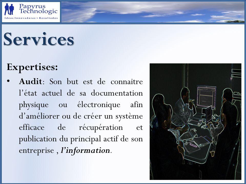Services Expertises: Conception doutils de gestion de systèmes dinformation: 1.