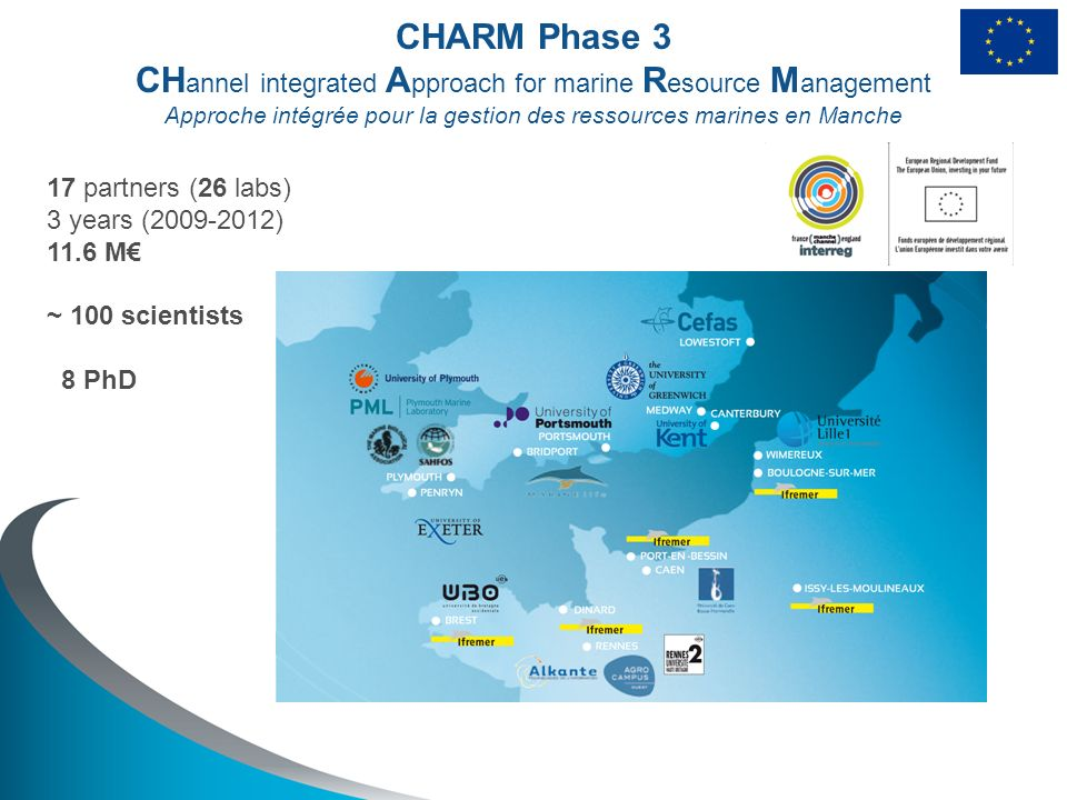 CHARM Phase 3 CH annel integrated A pproach for marine R esource M anagement Approche intégrée pour la gestion des ressources marines en Manche 17 partners (26 labs) 3 years (2009-2012) 11.6 M ~ 100 scientists 8 PhD
