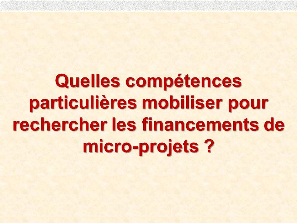 Quelles compétences particulières mobiliser pour rechercher les financements de micro-projets ?
