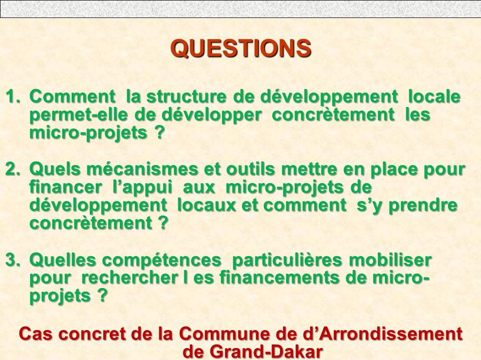 QUESTIONS 1.Comment la structure de développement locale permet-elle de développer concrètement les micro-projets ? 2.Quels mécanismes et outils mettr