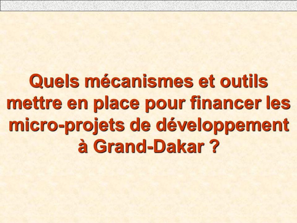 Quels mécanismes et outils mettre en place pour financer les micro-projets de développement à Grand-Dakar ?