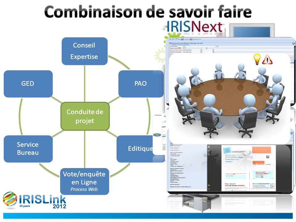 Conseil Expertise PAOEditique Vote/enquête en Ligne Process Web Service Bureau GED Conduite de projet