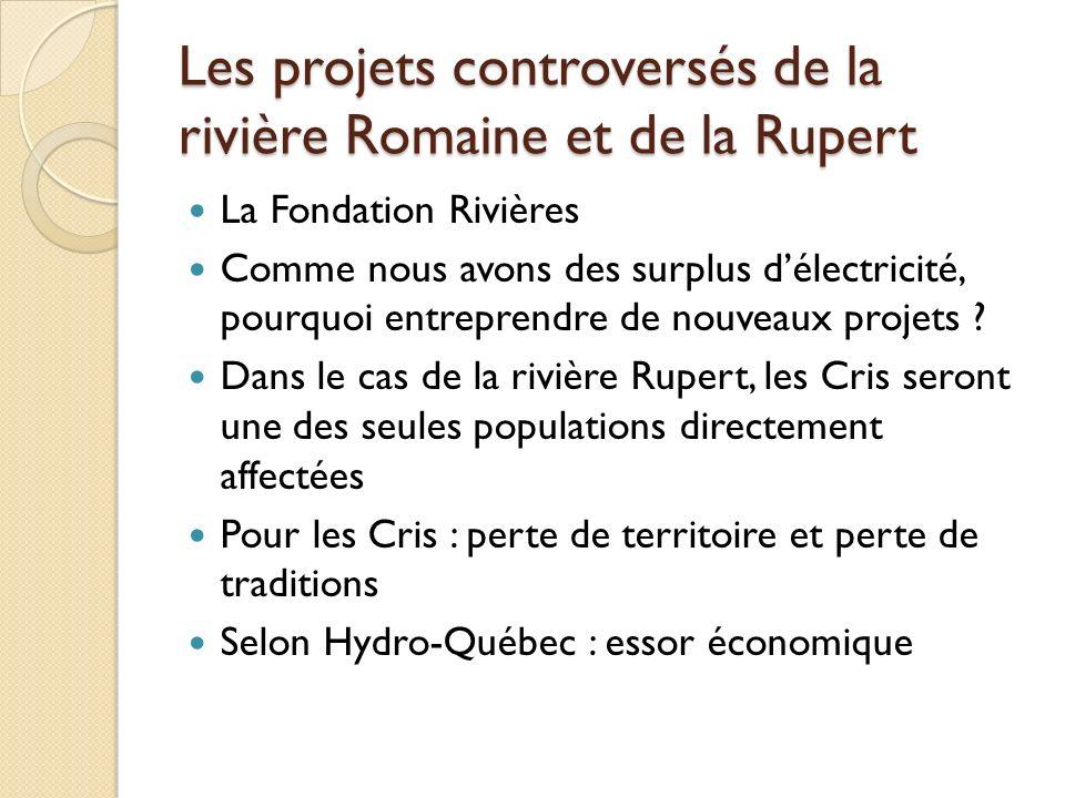 Les projets controversés de la rivière Romaine et de la Rupert La Fondation Rivières Comme nous avons des surplus délectricité, pourquoi entreprendre