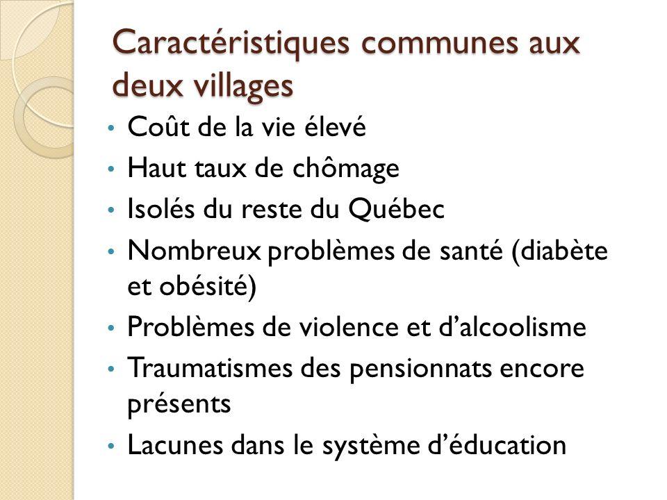 Caractéristiques communes aux deux villages Coût de la vie élevé Haut taux de chômage Isolés du reste du Québec Nombreux problèmes de santé (diabète e