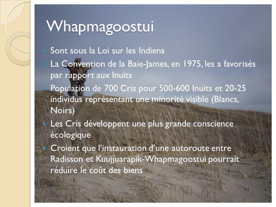 Whapmagoostui Sont sous la Loi sur les Indiens La Convention de la Baie-James, en 1975, les a favorisés par rapport aux Inuits Population de 700 Cris