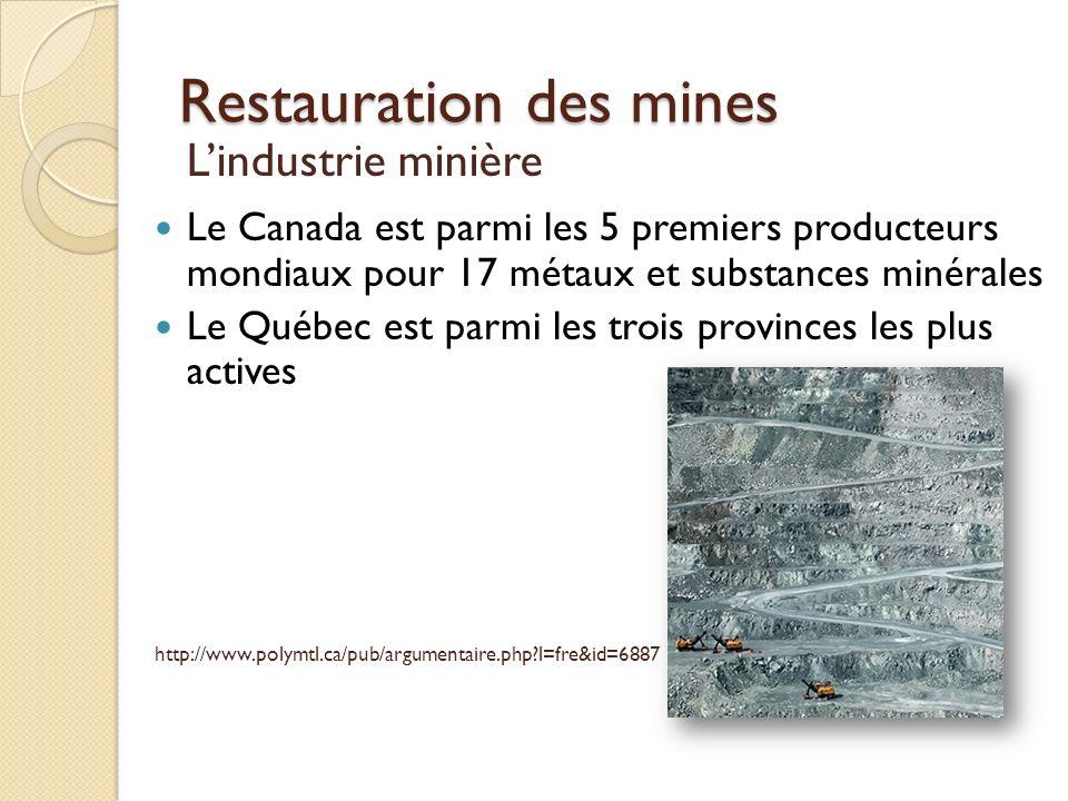Restauration des mines Lindustrie minière Le Canada est parmi les 5 premiers producteurs mondiaux pour 17 métaux et substances minérales Le Québec est