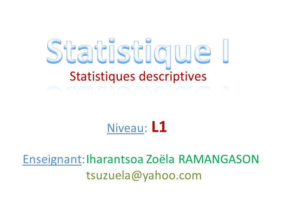 Statistiques descriptives Niveau: L1 Enseignant:Iharantsoa Zoëla RAMANGASON tsuzuela@yahoo.com