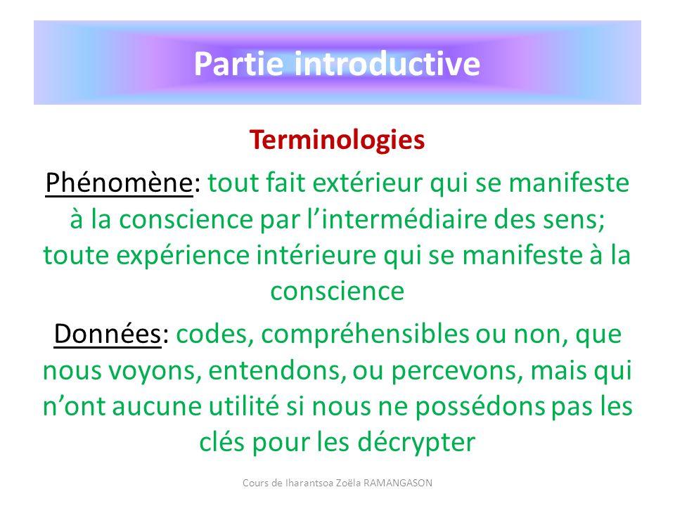 Partie introductive Terminologies Phénomène: tout fait extérieur qui se manifeste à la conscience par lintermédiaire des sens; toute expérience intéri