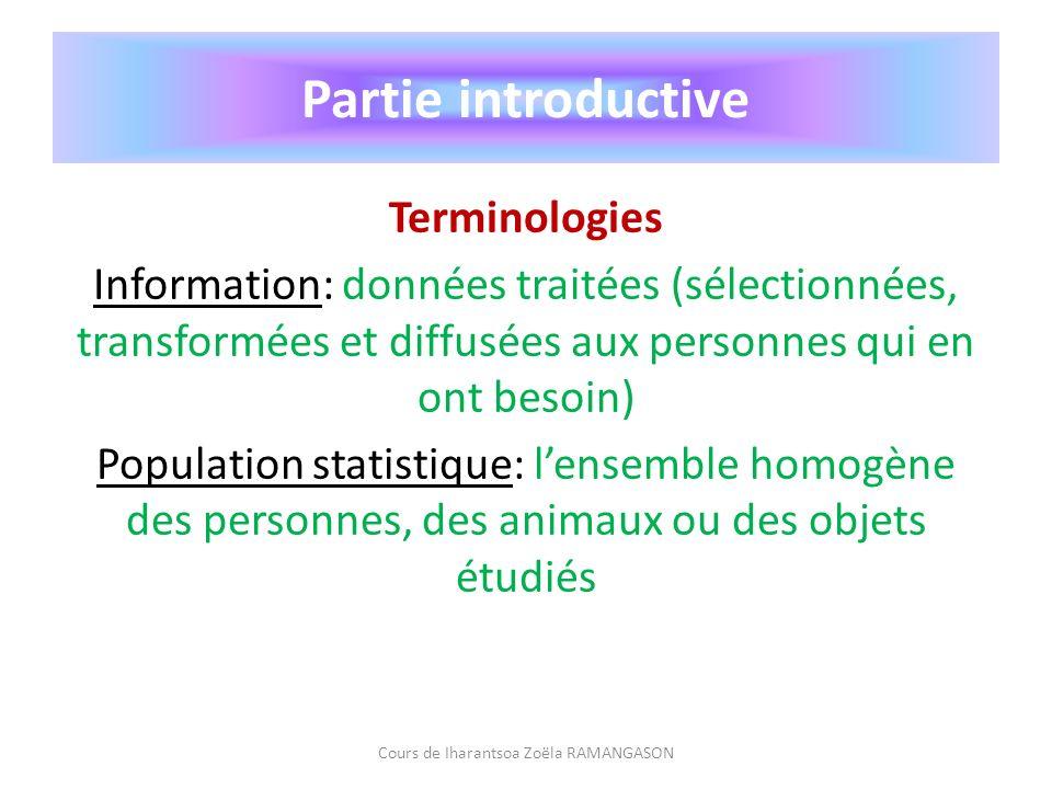 Partie introductive Terminologies Information: données traitées (sélectionnées, transformées et diffusées aux personnes qui en ont besoin) Population